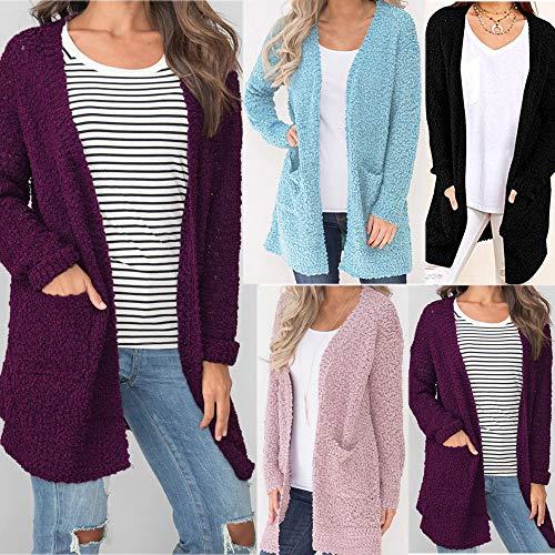 Poche Furry Manteau Cardigan GongzhuMM Violet avec Bleu Outwear Rose Dame Sweaters Automne Parka Hiver Rose Coat Femme Femme Blousons Noir pour Polaire qgawqBA