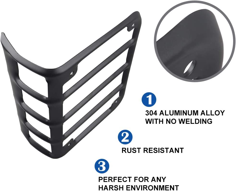 Guard for 2007-2018 Jeep Wrangler JK Black Light Covers for Rear Taillights Pair Tail Light