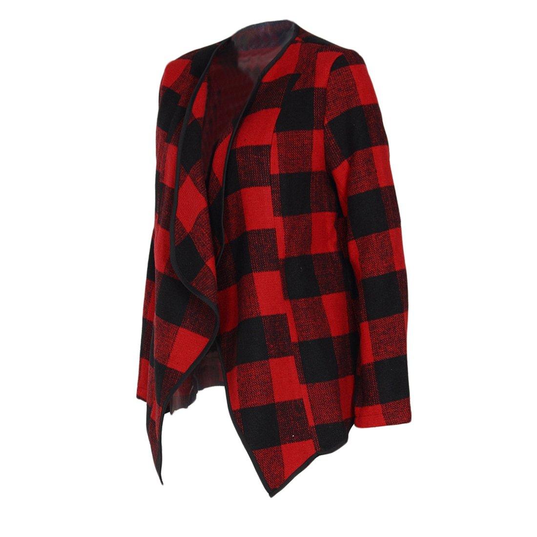 Shinekoo Women Cardigan Jacket Checked Plaid Open Front Coat Outwear by Shinekoo (Image #4)