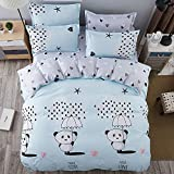 Family Decor King Duvet Cover Set with Zipper Closure Luxury Soft Microfiber 4 Piece£¨1 Duvet Cover + 1 Bed Sheets + 2 Pillow Shams Star Night Clouds Moon and Little Girl Dark Blue