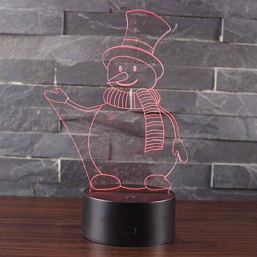 wangZJ Snowman 3 Theme Lámpara de ilusión 3d / Luz ...