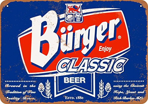 Wall-Color 7 x 10 METAL SIGN - Burger Classic Beer - Vintage - Burger Beer