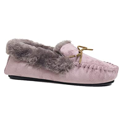 Dr Keller Ladies Womens Slip On Full Moccasin Slippers with Fluffy Lining  and Lace Detail UK Size 3 4 5 6 7 8  Amazon.co.uk  Shoes   Bags 21fd044ee4