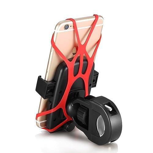 Yugee®Nouvelle Version Universel Support Guidon de Vélo VTT Moto pour GPS Smartphone Support Vélo Téléphone Rotatif à 360°Pince Robuste+Sangle en Silicone+Bouton de Verrouillage Fixation GuidonDegré Réglable Compatible avec iPhone 7/7 Plus/6/6 Plus/5S /5C/4 /4S /Samsung Galaxy S5/S4/S3/Note 4/3, Nexus,HTC, LG, Blackberry, Motorola, GPS, Kindle&Autre Smartphone GPS etc.