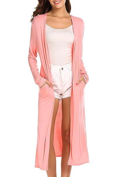 f52a02b545f77 Locryz Women s Long Sleeve Open Front Long Maxi Cardigan Longline Duster  Coat (S