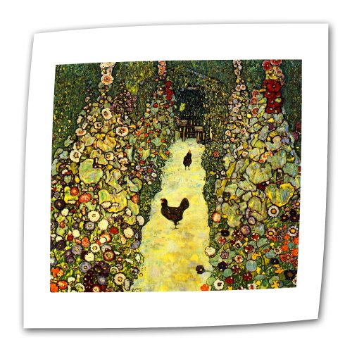 ArtWall Garden Path with Chickens 14 by 14-Inch Flat/Rolled Canvas by Gustav Klimt with 2-Inch Accent ()