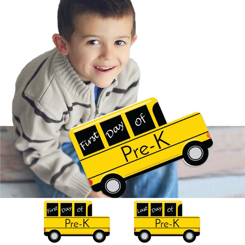 Pre-K First and Last Day of School Bus Signs - Back to School Photo Prop