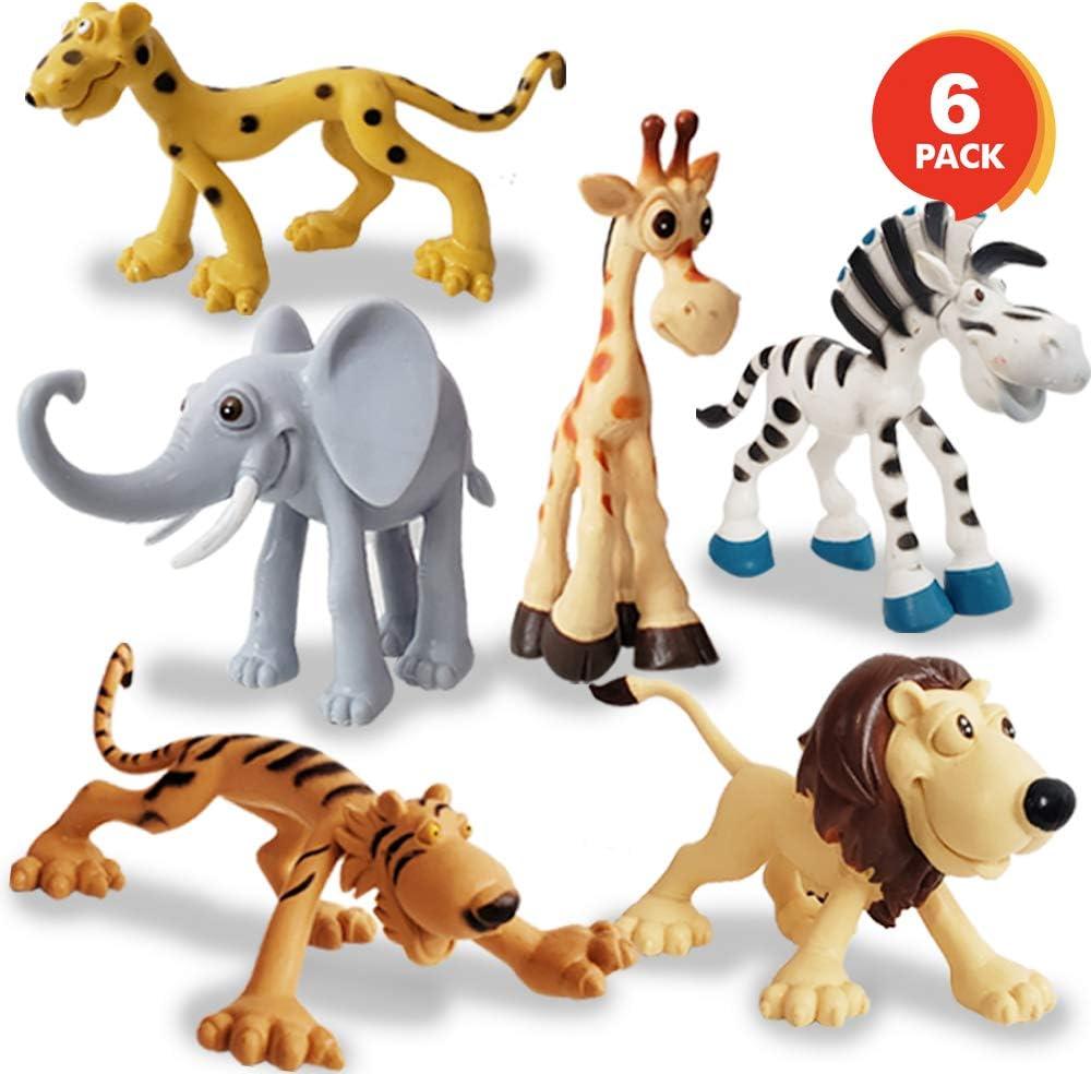 Amazon Com Artcreativity Cartoon Animals Figurines For Kids Set Of 6 Cute Cartoonish Design Durable Plastic Play Set Cool Storage Box Great Gift Idea Safari And Jungle Favors