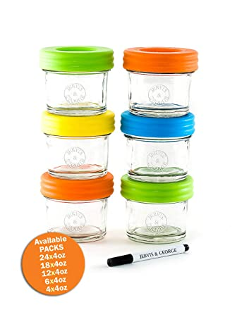 ae068ad2b9e3 Glass Baby Food Storage Containers - Set contains 6 Small Reusable 4oz Jars  with Airtight Lids - Safely Freeze your Homemade Baby Food