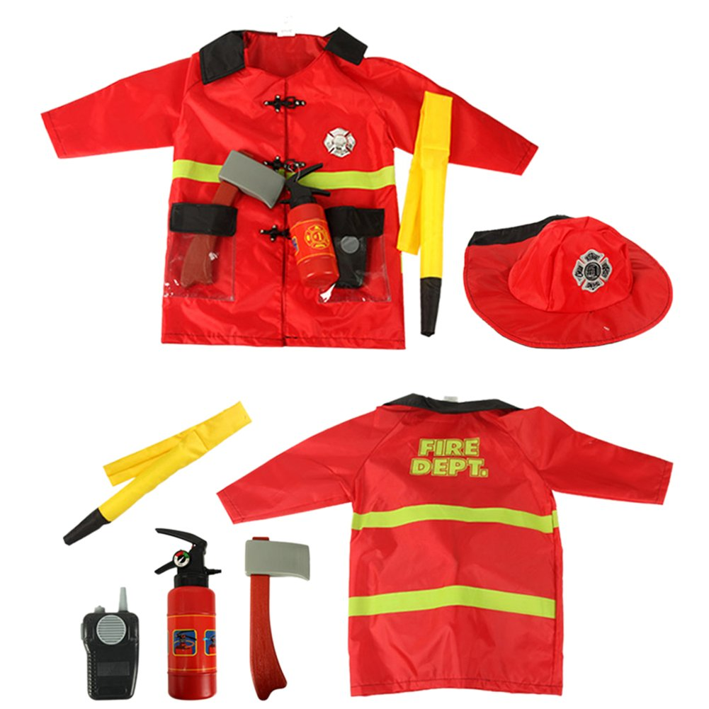 TOPTIE 4 Sets Kids' Role Play Costume Doctor Surgeon Police Officer Fire Chief White by TOPTIE (Image #4)