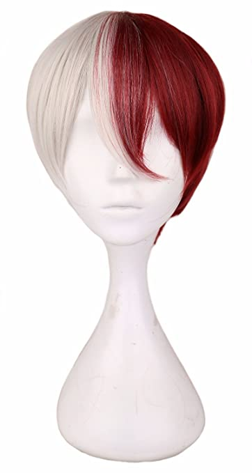 Amazon.com   UltimaFio - Men Short Costume Cosplay Wig Boys Half White Half  Red 30 Cm Heat Resistant Synthetic Hair Wigs  14inches Sliver    Beauty 12ebe7cd4f84