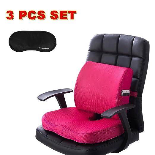 Los cojines del asiento de espuma de memoria y el apoyo lumbar brindan alivio para el dolor en la parte inferior de la espalda Sciatica Coccyx ...