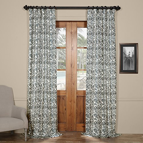 HPD HALF PRICE DRAPES PRTW-D45A-120 Catalina Printed Cotton Twill Curtain,Blue,50 X 120 - Catalina Panel