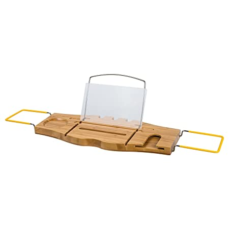 TOP-MAX® Bathtub Rack Bamboo Extendable Bath Caddy Trays with Book ...