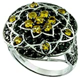 Sterling Silver 925 STATEMENT Ring GENUINE YELLOW SAPPHIRE 3.76 Cts with RHODIUM-PLATED Finish (9, yellow-sapphire)