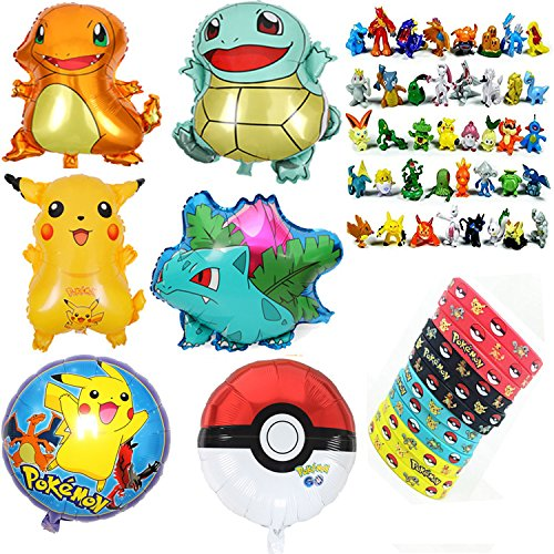 Jinhuamike Pokemon Theme Party Decorations Supplies Bundle Favors Pack-24 Action Figures,12 Bracelets 6 Party Balloons Kids & Adult Party Celebration by Jinhuamike