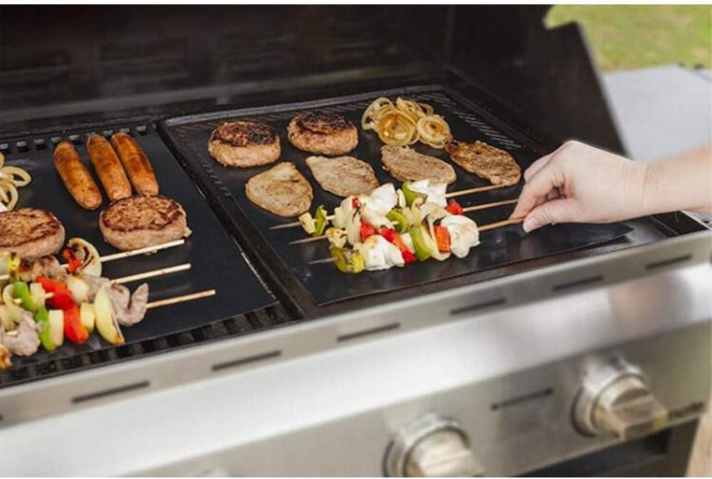LUFKLAHN 5pcs Barbecue Mat, résistant à Haute température Fibre de Verre Anti-adhésif Mat Noir Barbecue, Taille: 330 * 400 * 0.2mm (Color : A) B