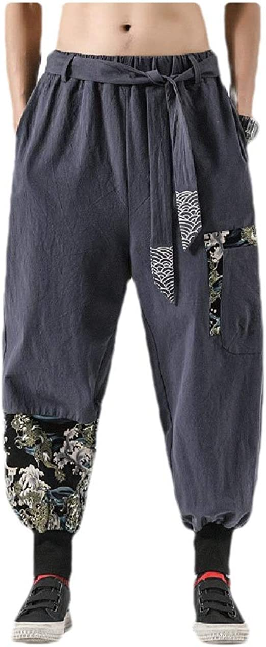 Romancly メンズドローストリングリネンフローラルプリントオーバーサイズカジュアルパンツポケット付き