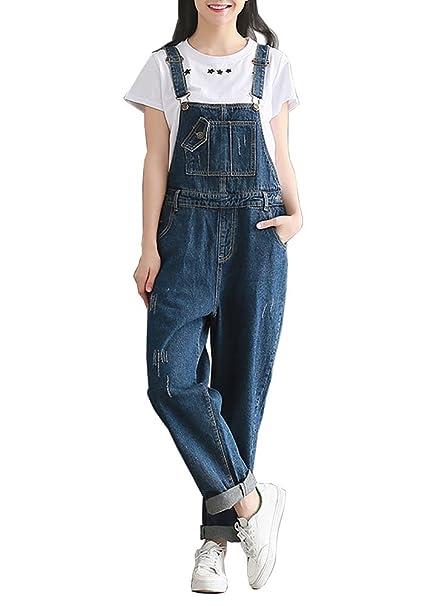 Dailisha Womens Denim Bib Overall Wide Leg Jeans Jumpsuit 3xl
