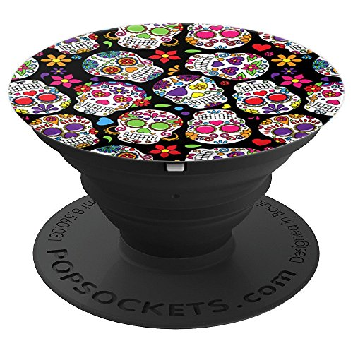 Sugar Skull Day Of The Dead Colorful Flower Cute Trendy - PopSockets Grip and Stand for Phones and Tablets -