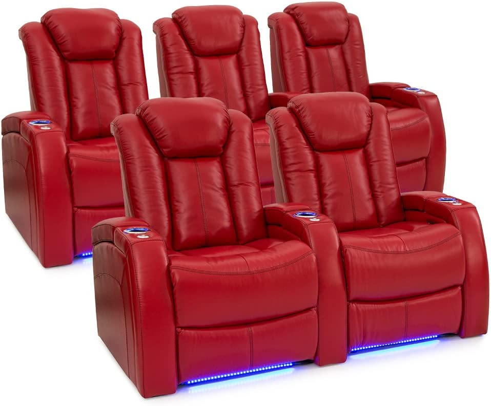Seatcraft Delta Home Theater Seating Leather Power Recline, Powered Headrests, and Built-in SoundShaker (Red, One Row of 2, One Row of 3)