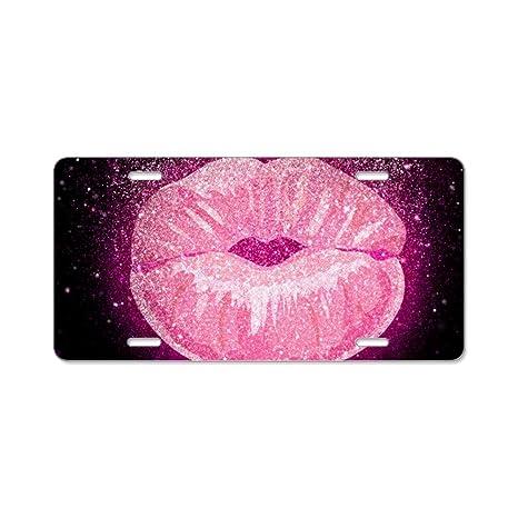 CafePress – Purpurina – Placa de Licencia de aluminio, placa frontal, mueble con labios