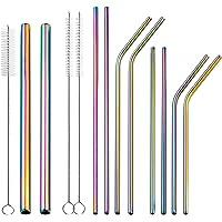 JOYECO Edelstahl Trinkhalme Wiederverwendbares Metall Eco Strohhalm für 20oz Becher mit 8 Stück, Farbe Regenbogen
