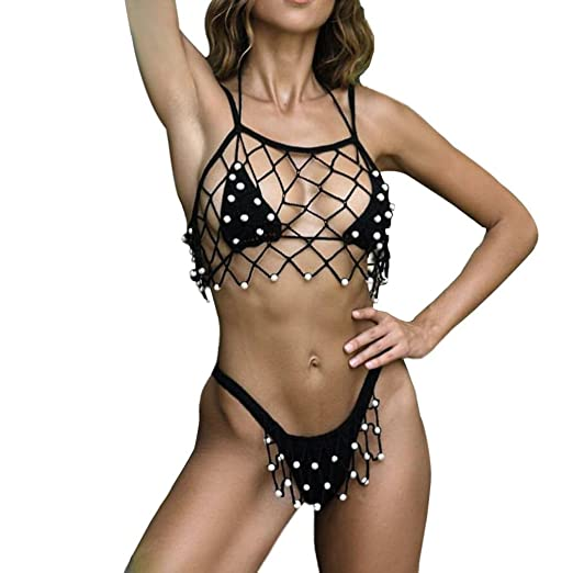 b744780178b82 Smdoxi Women Cover ups Bikini Lace Fishnet Hollow Out Top Crochet Dresses  (Balck