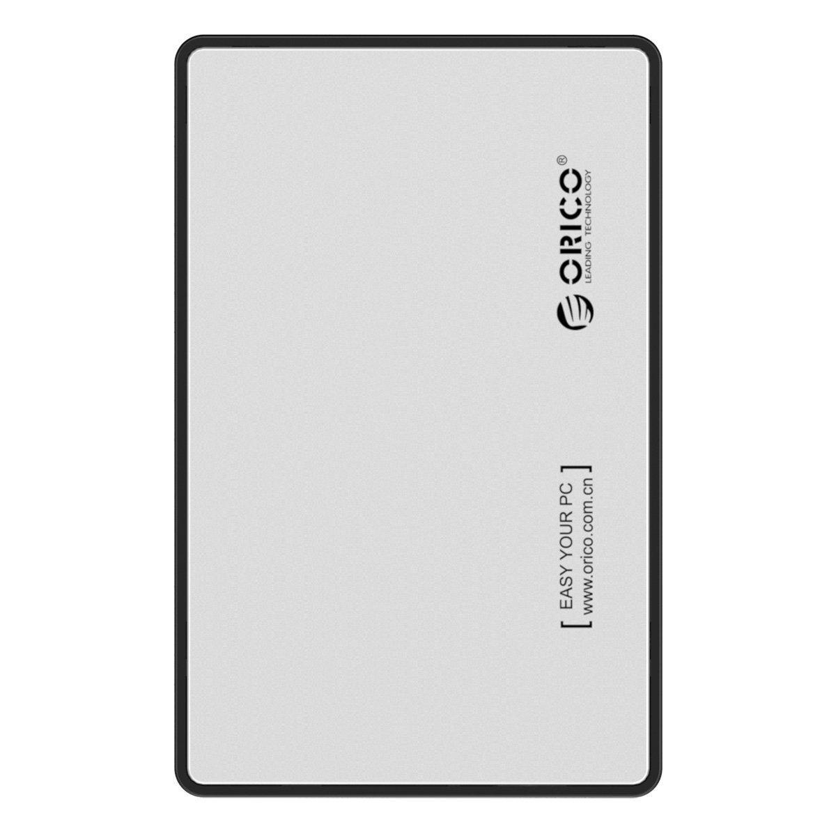 Orico Caja de disco duro externo USB 3.0 con UASP para SATA III HDD y SSD de 2,5 pulgadas - Plateado