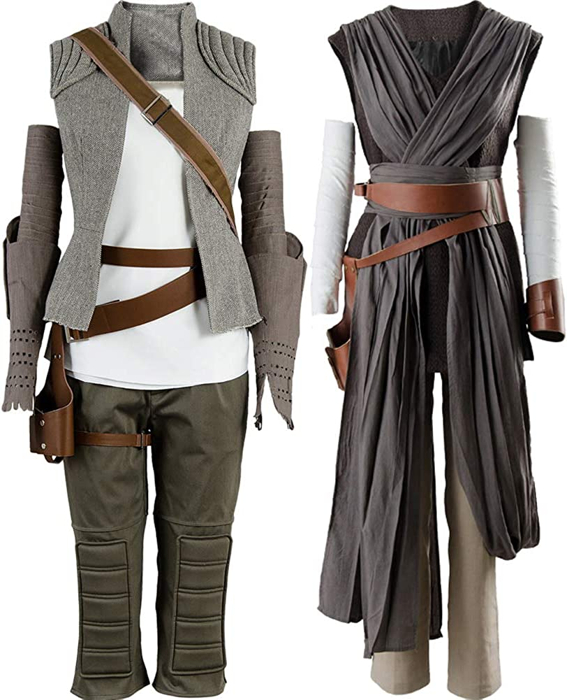 Cosplaysky The Force Awakens The Rise of Skywalker Halloween Tunic Outfit for Rey Costume 3 Versions