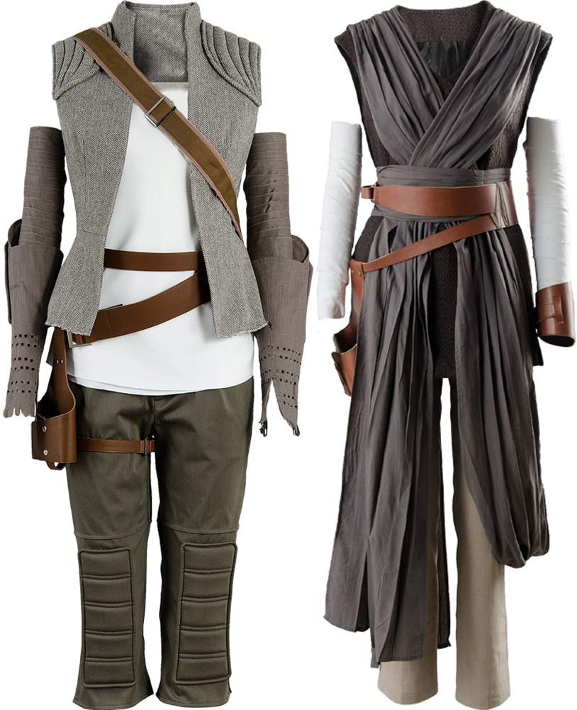Cosplaysky Star Wars 8 The Last Jedi Rey Costume Women Halloween Outfit Ver.2 X-Large