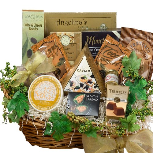 Art of Appreciation Gift Baskets Savory Sophisticated Gourmet Food Gift Basket with Caviar, Large (Chocolate)