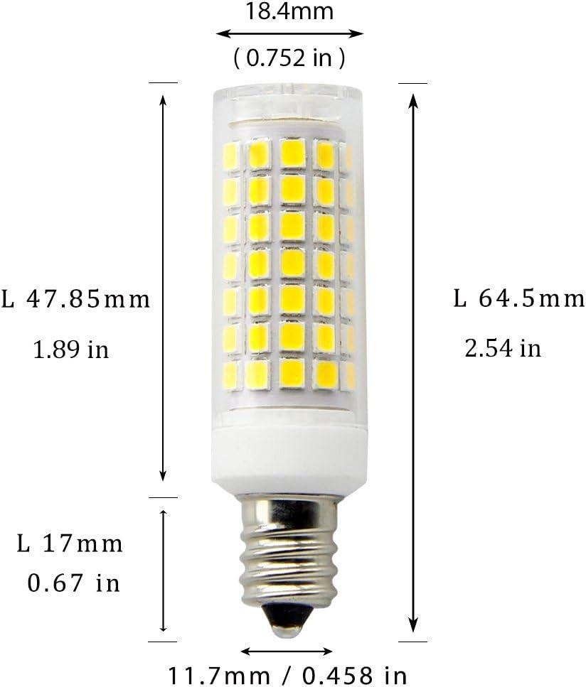 E12 LED Bulb dimmable 8W Ceiling Fan Light Bulbs,Equivalent to 80W Halogen Bulb 800Lumens,360Degre Beam Angle T3//T4 Candelabra Base,for Chandelier Daylight White6000K Ceiling Fan 2Pack Desk Lamp