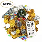 Uddiee Pirate Coins Gold and Pirate Jewelry Gems Pirate Toys Treasure for Kids Pirate Party Supplies Decoration 320 Pieces with a Pirate Sticker