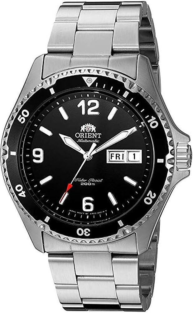 Reloj de Plata de Cuerda Manual Mako II Orient para Hombres, análogo, automático, FAA02001B9
