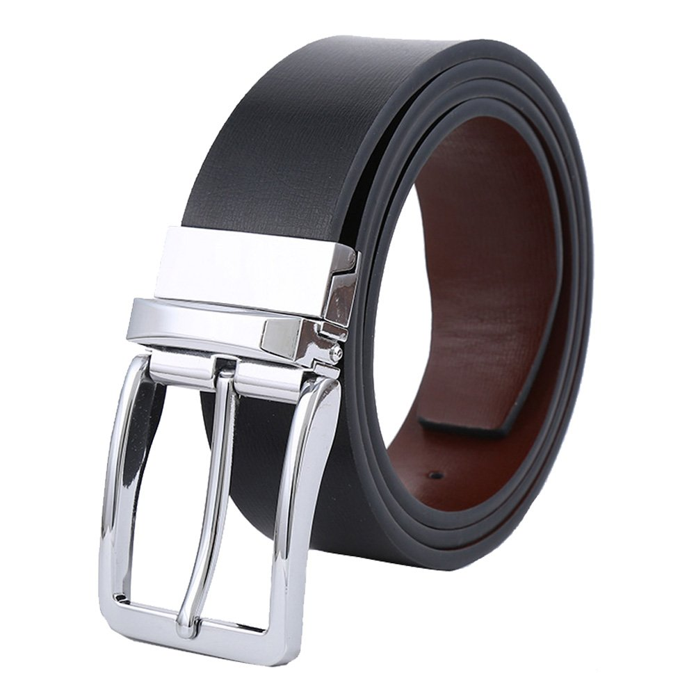 Tanpie Men's Reversible Belt Leather with Dress Removable Buckle Strap Jean Brown/Black L