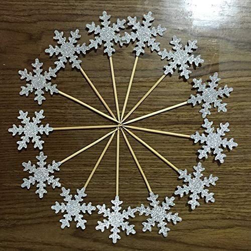 Medium Double Sided Silver Glitter Decorative Frozen Winter Snowflake Snowflake Decorations Cupcake Toppers for Standard and Large Cupcakes,Size 2