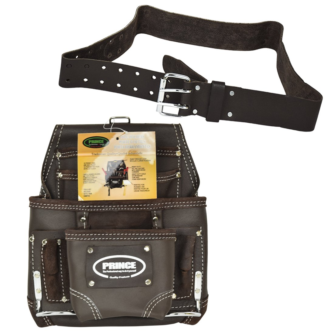 Prince Logo Bundle- 10 Pocket Oil Tanned Leather Nail and Tool Pouch with 2'' Double Pin Work Belt- (2 Piece Set)