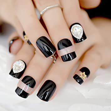 Amazon.com : 24pcs/kit Classic Black French Nail Tips 3d Crystal Decoration Short Full Acrylic Fake Nails Art for Finger Patch Makeup Z868 : Beauty