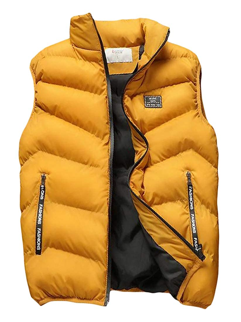 Pandapang Men Packable Quilted Cotton-Padded Warm Thicken Jacket Slim Down Vest