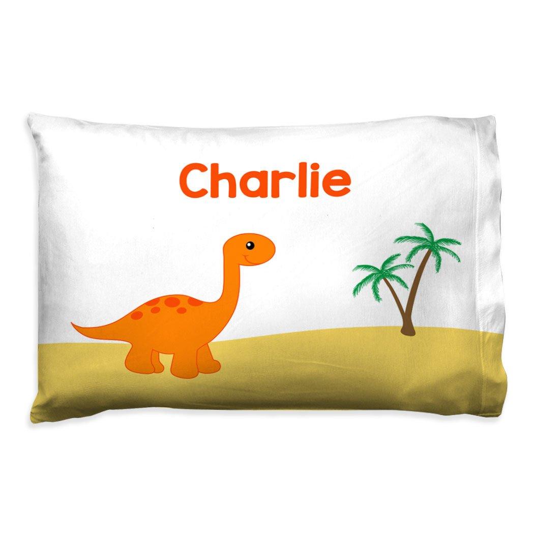 ChalkTalkSPORTS Personalized Kids Pillowcase   Dinosaur with Custom Name   Orange