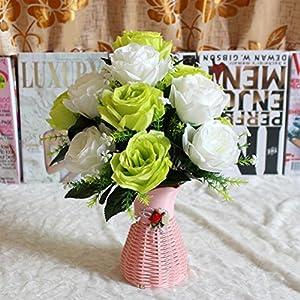 NXDA Artificial Flowers, 1 bunch of Rose Fake Silk Flowers Bouquet for Home Floor Garden Office Wedding Decor, 7 Flowers 79