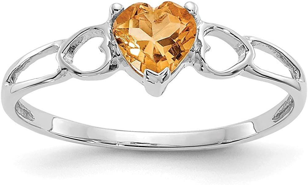 14k White Gold Citrine Birthstone Ring Size 6 Length Width 2 to 5