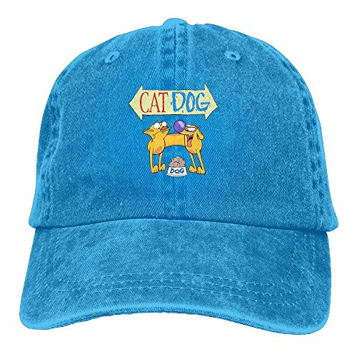 Quxueyuannan Catdog Cap Adjustable Vintage Washed Denim Baseball Cap Dad Hat]()