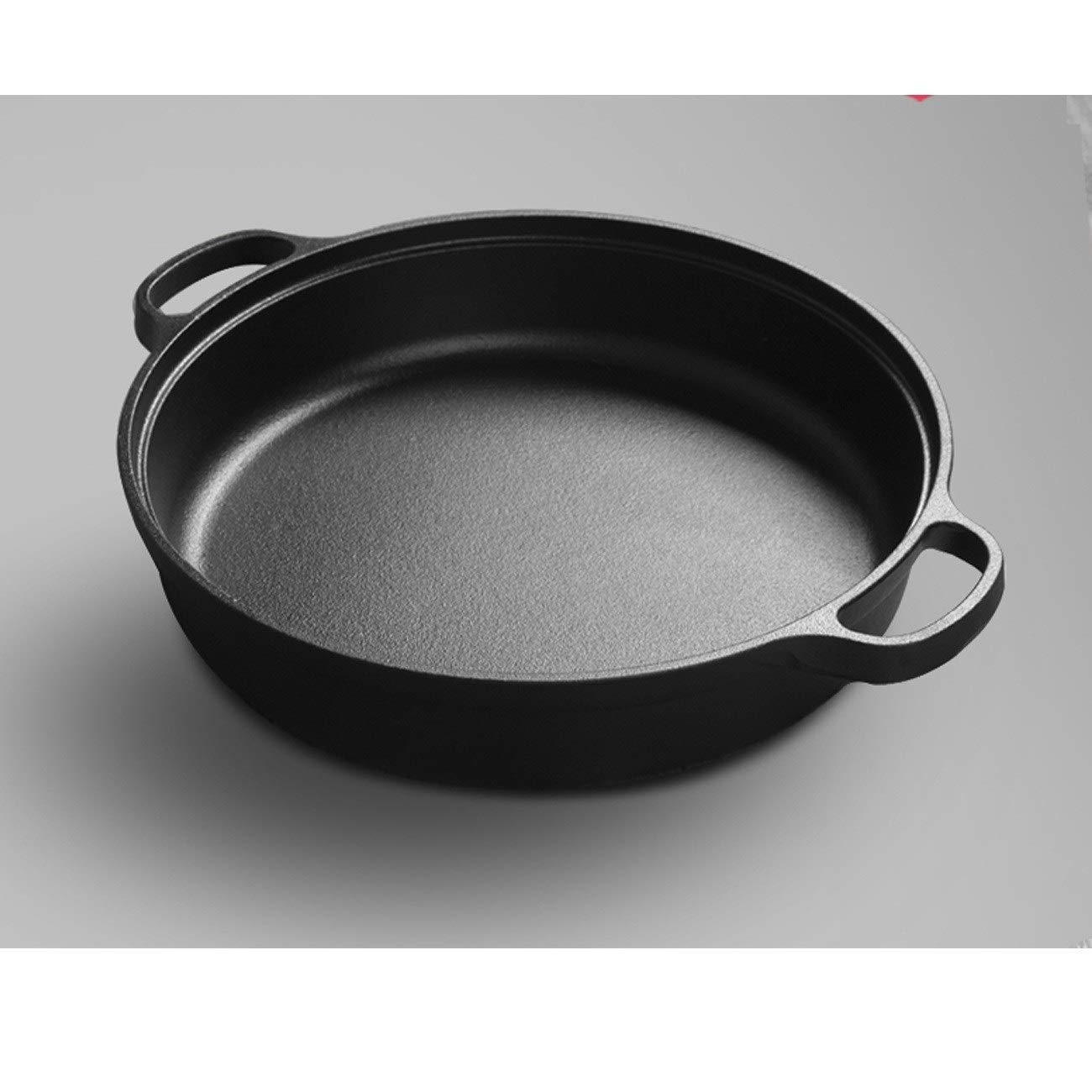 TONGBOSHI Double ear pan cast iron frying pan thick pancake pot no coating thickening cast iron pot non-stick household gas universal product (Color : Black, Size : 25cm) by TONGBOSHI (Image #2)