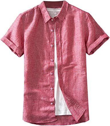 HiLY Camisa de vestir para hombre, manga corta, cuello ...
