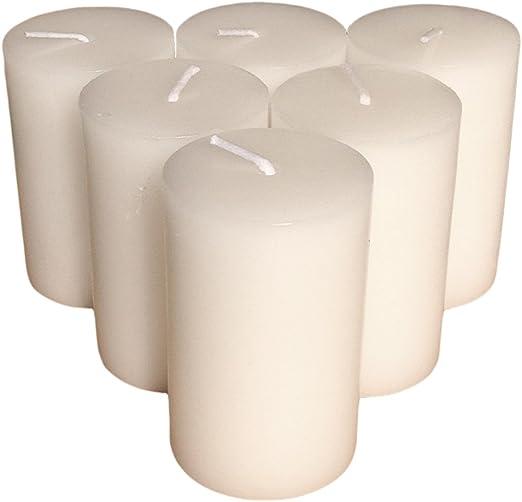 Collumino – Velas (sólido color tamaño 7 x 4,3 cm, Blanco, Pack de 6: Amazon.es: Hogar