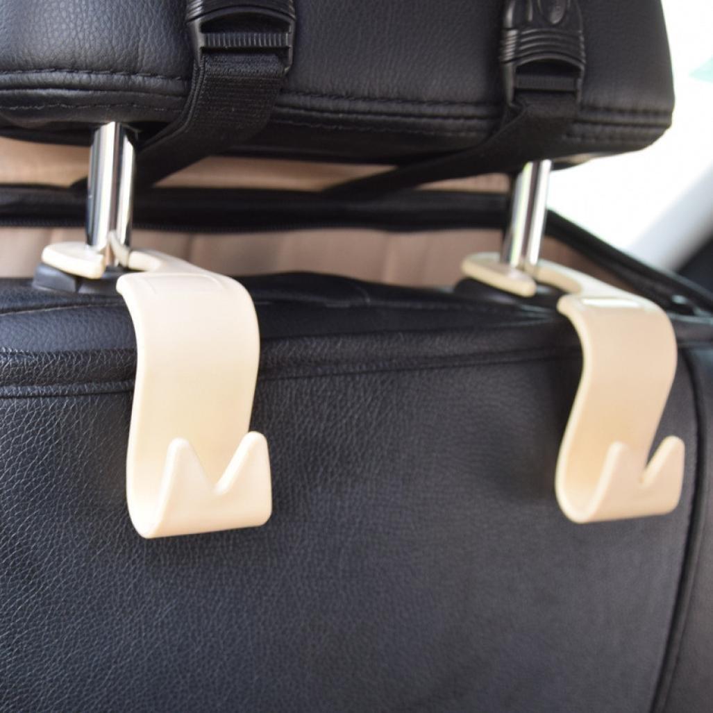 Igemy 4Pcs Car Seat Back Headrest Holder Hook for Bag Coat Organizer Holder Universal black