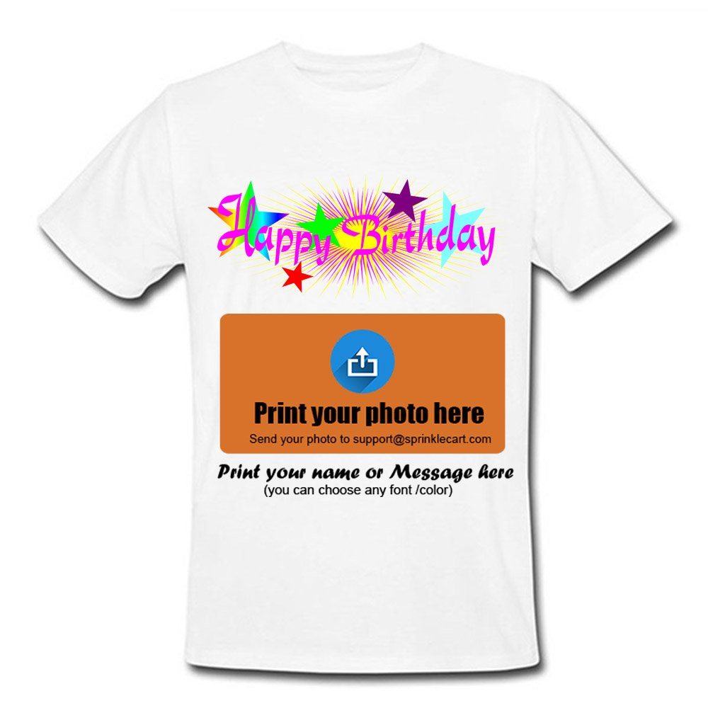97caf9f9e Sprinklecart Happy Birthday T Shirts Custom Photo Printed T Shirts - Design  2: Amazon.in: Clothing & Accessories