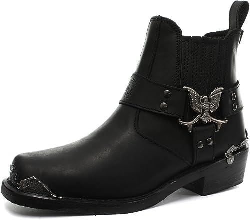 Mens Biker Black Leather Boots Slip On Square Toe Eagle Design Grinders Boots
